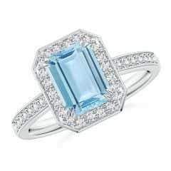 Emerald-Cut Aquamarine Engagement Ring with Diamond Halo