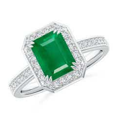 Emerald-Cut Emerald Engagement Ring with Diamond Halo