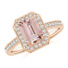 Emerald-Cut Morganite Engagement Ring with Diamond Halo