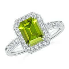Emerald-Cut Peridot Engagement Ring with Diamond Halo