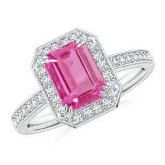Emerald-Cut Pink Sapphire Engagement Ring with Diamond Halo