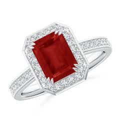 Emerald-Cut Ruby Engagement Ring with Diamond Halo