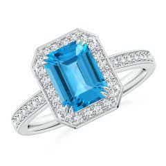 Emerald-Cut Swiss Blue Topaz Engagement Ring with Diamonds