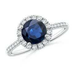 Round Sapphire Halo Ring with Diamond Accents