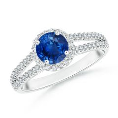 Angara Split Shank Round Amethyst Halo Ring with Cluster Diamonds t49Ovr