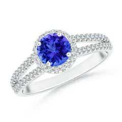 Twin Shank Tanzanite Halo Ring with Diamond Accents