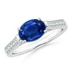 East-West Oval Blue Sapphire Solitaire Ring with Diamonds