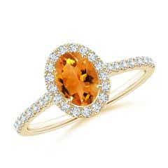 Oval Citrine Halo Ring with Diamond Accents