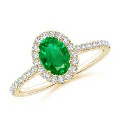 Oval Emerald Halo Ring with Diamond Accents