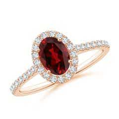 Oval Garnet Halo Ring with Diamond Accents