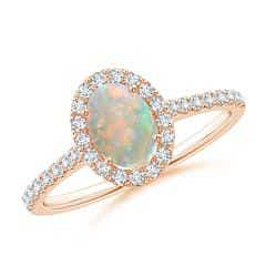 Oval Opal Halo Ring with Diamond Accents