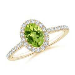 Oval Peridot Halo Ring with Diamond Accents