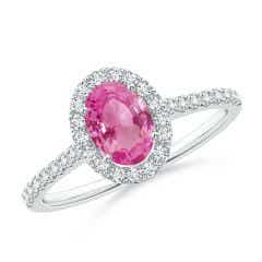 Oval Pink Sapphire Halo Ring with Diamond Accents