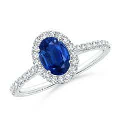 Oval Sapphire Halo Ring with Diamond Accents