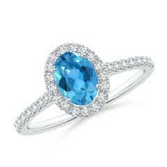 Oval Swiss Blue Topaz Halo Ring with Diamond Accents