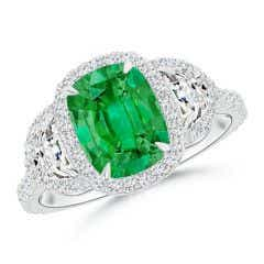 Cushion Emerald and Half Moon Diamond Halo Ring