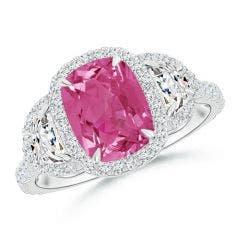 Cushion Pink Sapphire and Half Moon Diamond Halo Ring