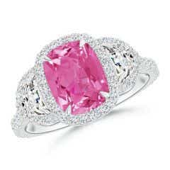 Cushion Pink Sapphire and Half Moon Diamond Halo Ring