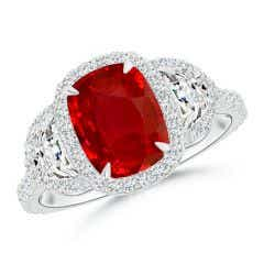 Cushion Ruby and Half Moon Diamond Halo Ring