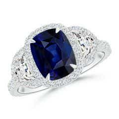 Cushion Blue Sapphire and Half Moon Diamond Halo Ring