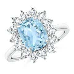 Rectangular Cushion Aquamarine Ring with Diamond Floral Halo