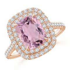 GIA Certified Pink Morganite Ring with Diamond Double Halo - 2.6 CT TW