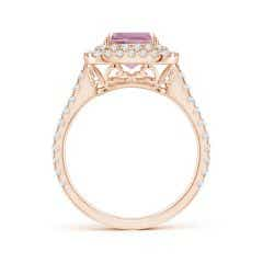 Toggle GIA Certified Pink Morganite Ring with Diamond Double Halo - 2.58 CT TW