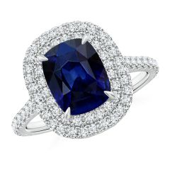 Cushion Sapphire Engagement Ring with Diamond Double Halo