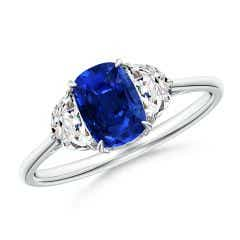 Cushion Sapphire Three Stone Ring with Diamonds