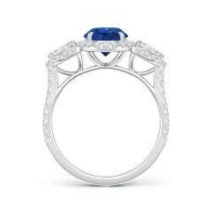 Toggle Vintage Style Three Stone Sapphire and Diamond Ring
