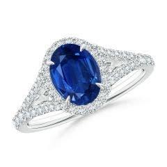 Claw-Set Oval Blue Sapphire Split Shank Halo Ring