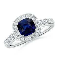 Cushion Blue Sapphire Engagement Ring with Diamond Accents