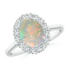 Oval Opal Ring with Floral Diamond Halo