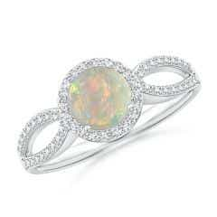Vintage Style Opal Spilt Shank Ring with Diamond Halo