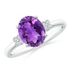 Solitaire Oval Amethyst Ring with Diamond Floral Accent