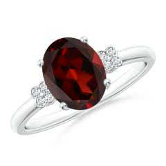 Solitaire Oval Garnet Ring with Diamond Floral Accent