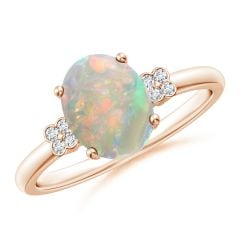 Solitaire Oval Opal Ring with Diamond Floral Accent