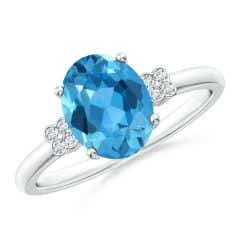 Solitaire Oval Swiss Blue Topaz Ring with Diamond Floral Accent