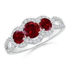 Floating Three Stone Garnet Ring with Diamond Halo