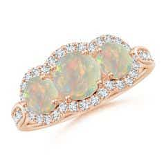 Floating Three Stone Opal Ring with Diamond Halo