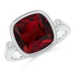 Angara Diamond Framed Cushion Garnet Scroll Patterned Ring u6DHMf