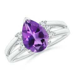 Pear Amethyst Ring with Triple Diamond Accents