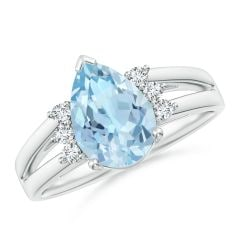 Pear Aquamarine Ring with Triple Diamond Accents