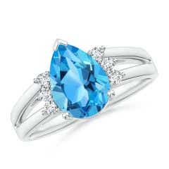 Pear Swiss Blue Topaz Ring with Triple Diamond Accents