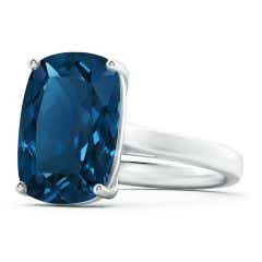 GIA Certified Cushion London Blue Topaz Solitaire Ring