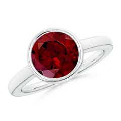 Bezel-Set Round Garnet Solitaire Engagement Ring