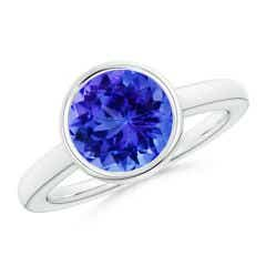 Bezel-Set Round Tanzanite Solitaire Engagement Ring