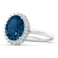 Vintage Style GIA Certified London Blue Topaz Cocktail Ring - 3.55 CT TW