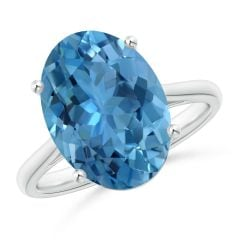 GIA Certified Oval Solitaire Aquamarine Cocktail Ring