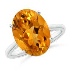 GIA Certified Oval Solitaire Citrine Cocktail Ring - 4.26 CT TW